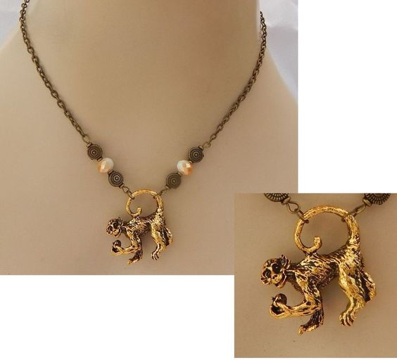 Gold 3D Monkey Pendant Necklace Handmade NEW Accessories Fashion Beaded…