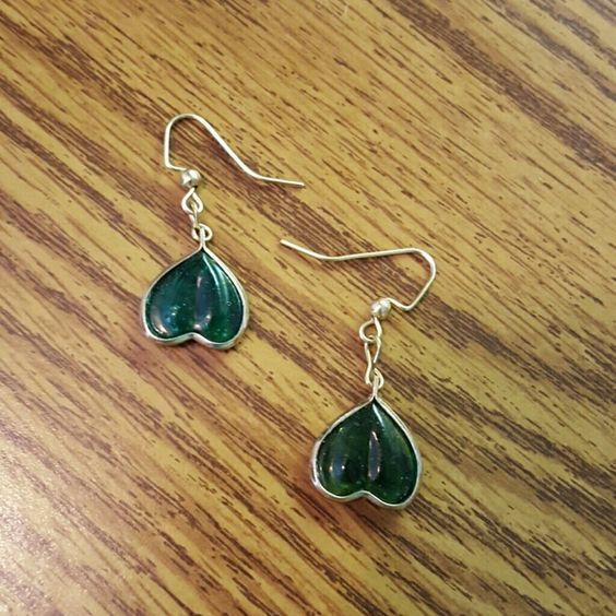 Green Heart Earrings Handmade earrings Jewelry Earrings