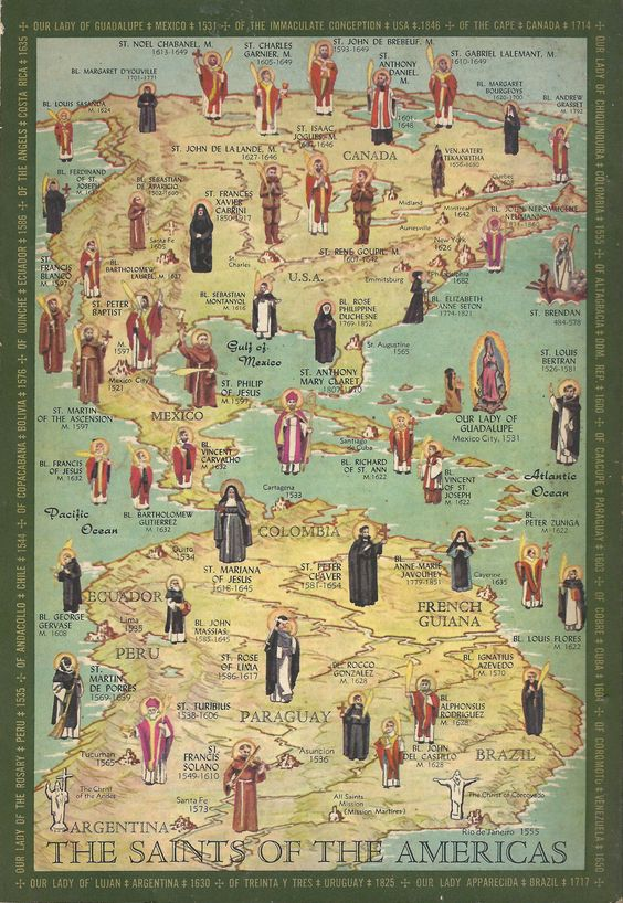 """Saints of the Americas"" map, from The Communion of Saints by the Slaves of the Immaculate Heart of Mary:"
