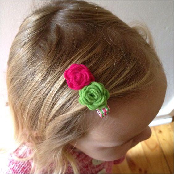 Rolled felt roses clip