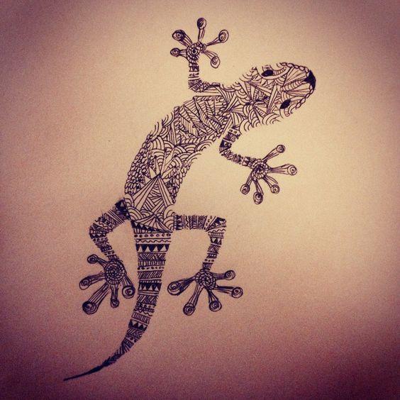 Aztec print salamander drawing I made texture zentangle