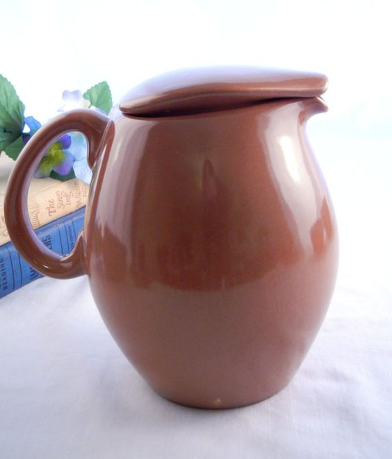 Reserved for one4joy russel wright casual pitcher with lid iroquois nutmeg brown 1950s - Russel wright pitcher ...