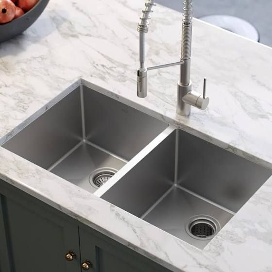 Kraus Stainless Steel 32 75 X 19 Double Basin Undermount Kitchen Sink With Noisedefend Soundproofing Undermount Kitchen Sinks Modern Kitchen Kitchen Design