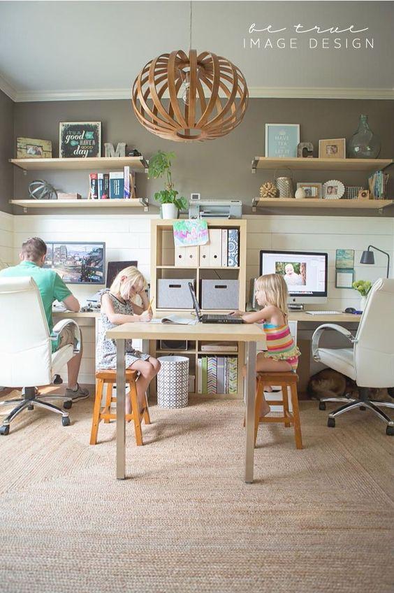 family office....white paneling, shelves, khaki paint and sisal/jute area rug.....great look!