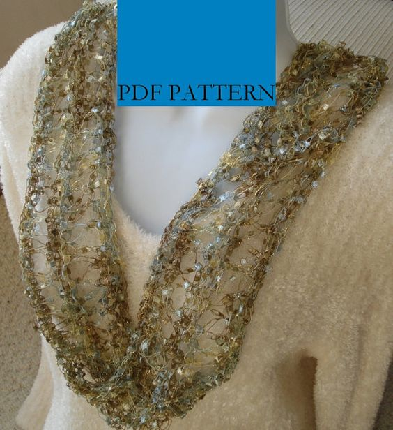 Knitting Pattern Ribbon Yarn Scarf : Ribbon yarn, Ladder and Knits on Pinterest