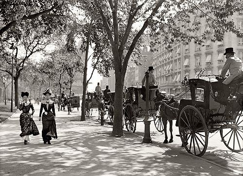 New York circa 1900, Cab stand at Madison Square.