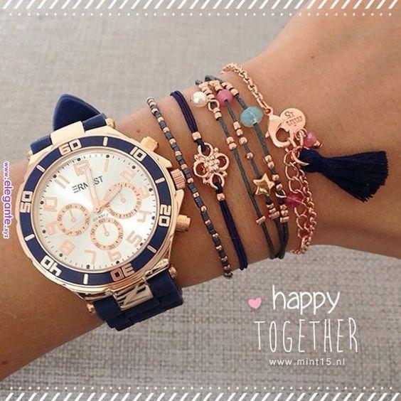 Nog een bohemian combinatie met dit horloge en bijpassende armbanden