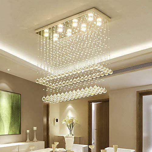 Moooni Modern Rectangular Raindrop Crystal Chandelier Ceiling Lighting Fixture Pendant Flush Mount Modern Crystal Chandelier Dining Room Chandelier Chandelier