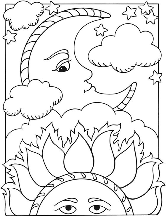 Welcome to dover publications let 39 s color together sun for Moon and stars coloring pages
