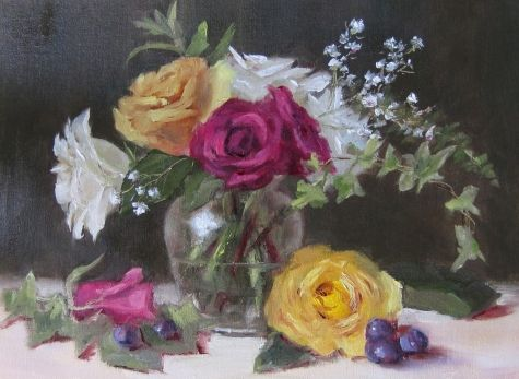Roses Tri-colore, painting by artist Pat Fiorello