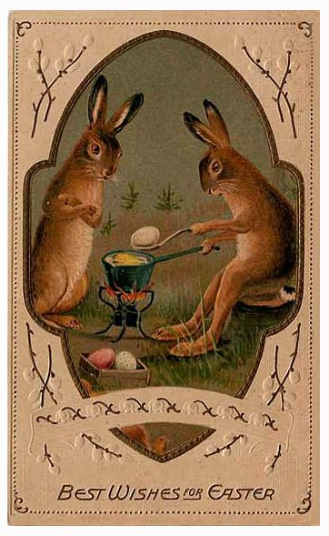 Best wishes for Easter bunnies cooking Easter eggs.: