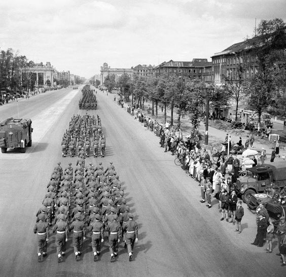 British troops march down the Charlottenburg Chaussee, Berlin. 21 July 1945.