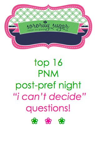 "During recruitment, PNMs worry about finding their ideal sorority. But what if you are lucky enough to find two or three? This is a nice problem to have, but deciding ""which way to go"" can be just as agonizing as not making a match. Try answering these sorority sugar questions to help you make a choice! <3 BLOG LINK: http://sororitysugar.tumblr.com/post/73954580383/pnm-problems-choosing-between-two-or-three-fabulous#notes"