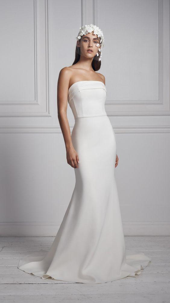 New wedding dresses for 2020 | Strapless sleek wedding dress by Anne Barge #weddingdress #bridalgown #bride