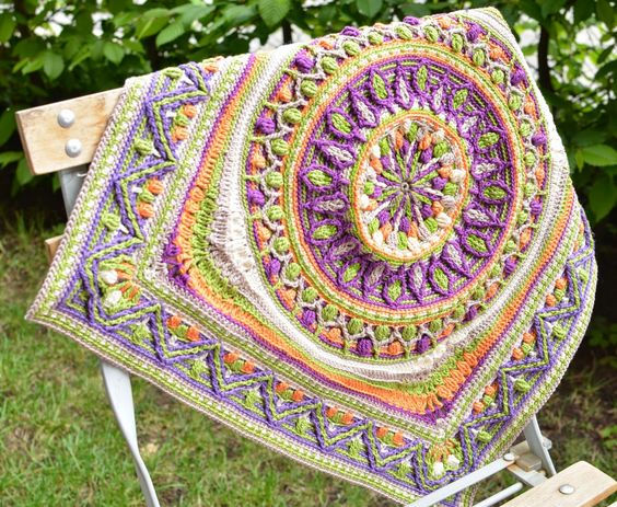 Large square mandala made in overlay crochet technique: