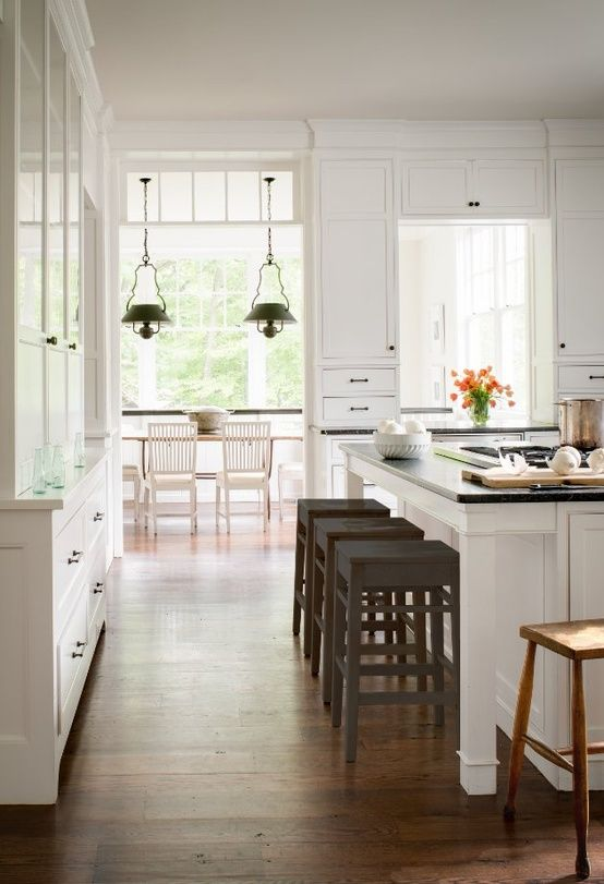 Countertop Height Cabinet : gorgeous white kitchen with black countertops and black counter height ...