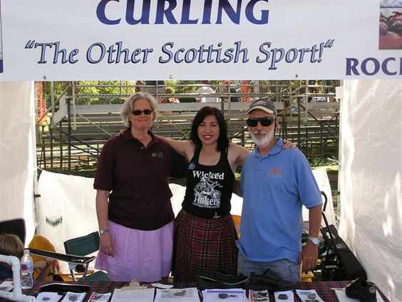 """Alice, Bev, and Gordon promote CURLING: """"The Other Scottish Sport!"""" in the San Francisco Bay Area Curling Club booth at the Pleasanton Scottish Games"""