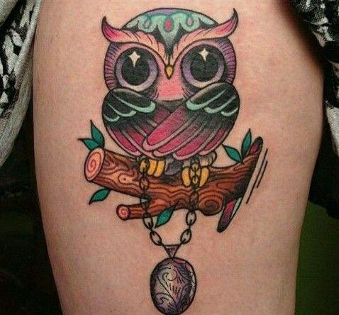 Buho tatoo more bird tattoos cute owl tattoo colorful owls tattoo owls