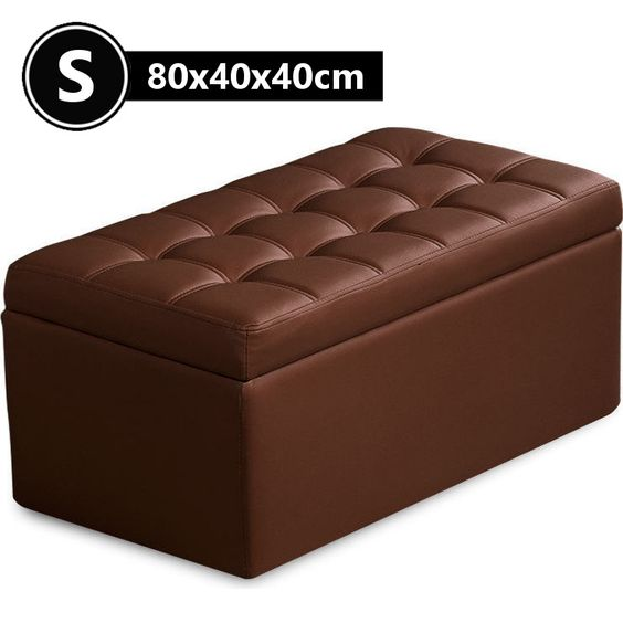 Small PU Leather Tufted Storage Ottoman Brown 80cm | Buy Storage Ottomans - Small PU Leather Tufted Storage Ottoman Brown 80cm Buy Storage