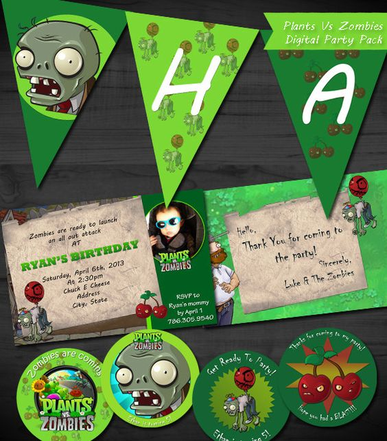 invitations zombies and plants vs zombies on pinterest. Black Bedroom Furniture Sets. Home Design Ideas