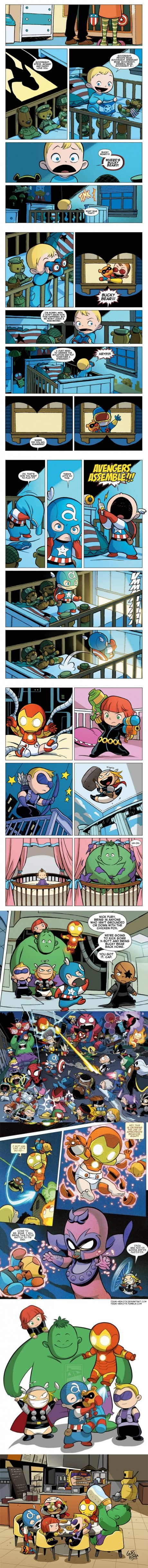 I found this adorable! Bucky Bear! And even Nick Fury is a baby. Iron Man has big round eyes of wonder and imagination. Unstoppable Thor is unstoppable!