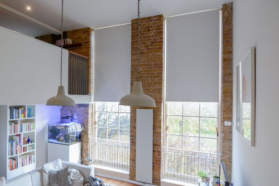 Blackout Roller Blinds Fitted To Floor To Ceiling Sash Windows In Converted Victorian School Living R Living Room Blinds Vertical Window Blinds Blinds Design