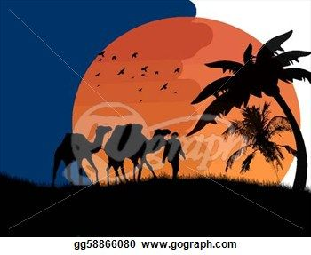 egyptian oasis clip art | ... Desert with camels and palms, vector illustration. Clip Art gg58866080