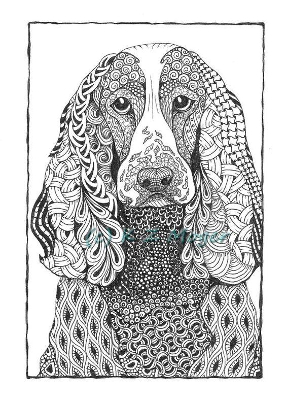 Portrait chiens and zentangle on pinterest - Animaux mandala ...