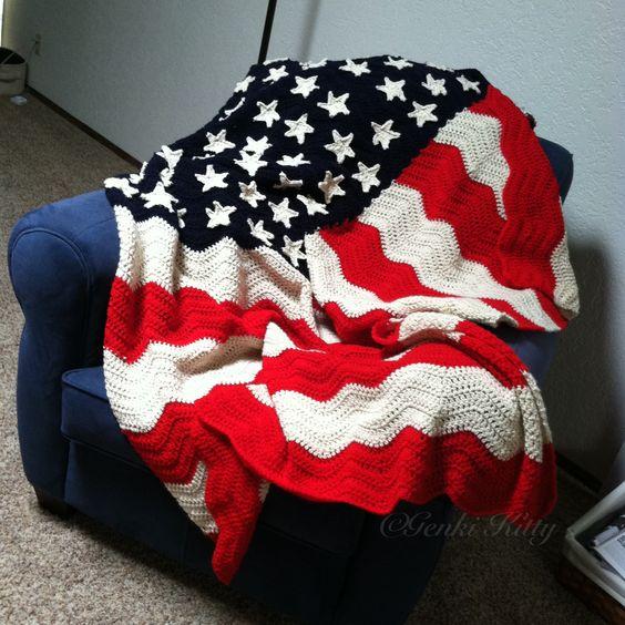 Wavy American Flag Crochet Pattern