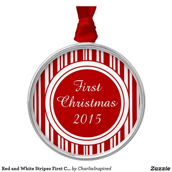 Candy Cane Stripes First Christmas Round Metal Christmas Ornament