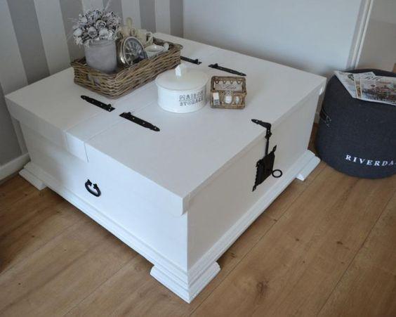 Witte salontafel   dekenkist, massief hout  brocant  landelijk   Wonen   Pinterest