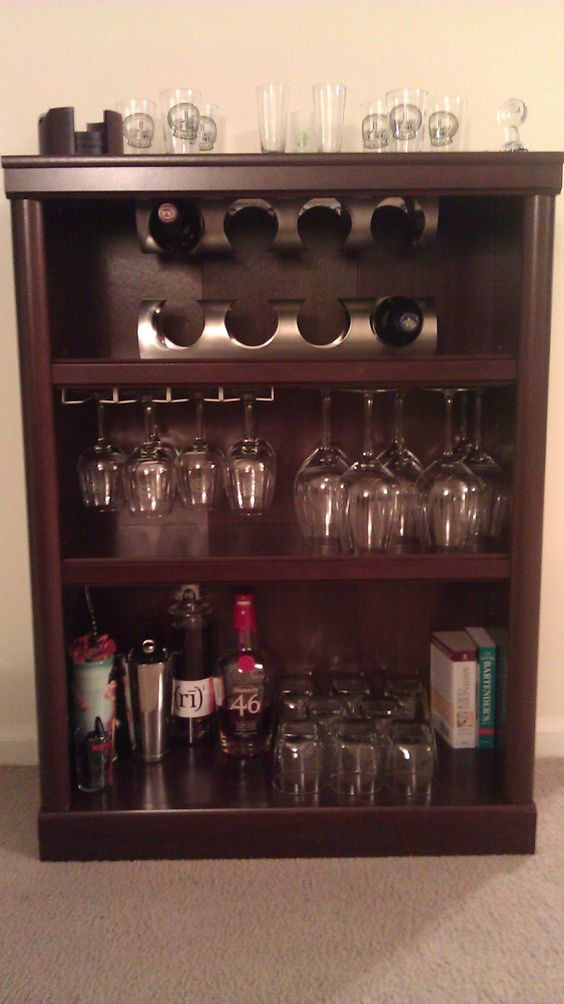 our take on the bookcase bar (thanks Mags!)