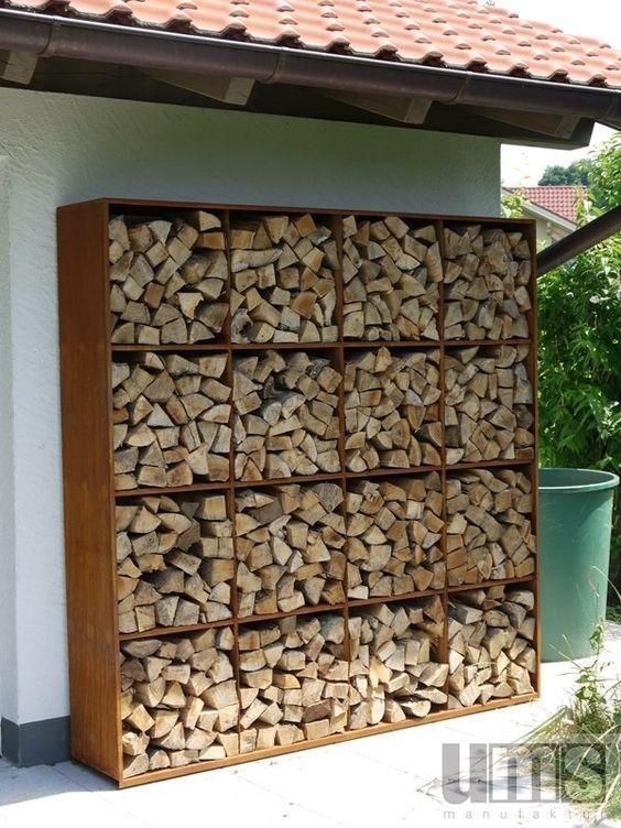 outdoor shelving full of firewood #fireWoodStorage #firewoodrack #firewood #firewoodideas #organization #shelves