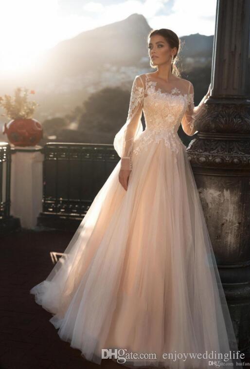 Romantic Sheer Long Sleeves Wedding Dresses A Line Long Sleeve Wedding Dress Lace Lace Wedding Dress With Sleeves Wedding Dress Long Sleeve