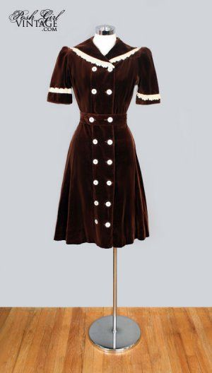 1930's Brown Velvet Button Dress