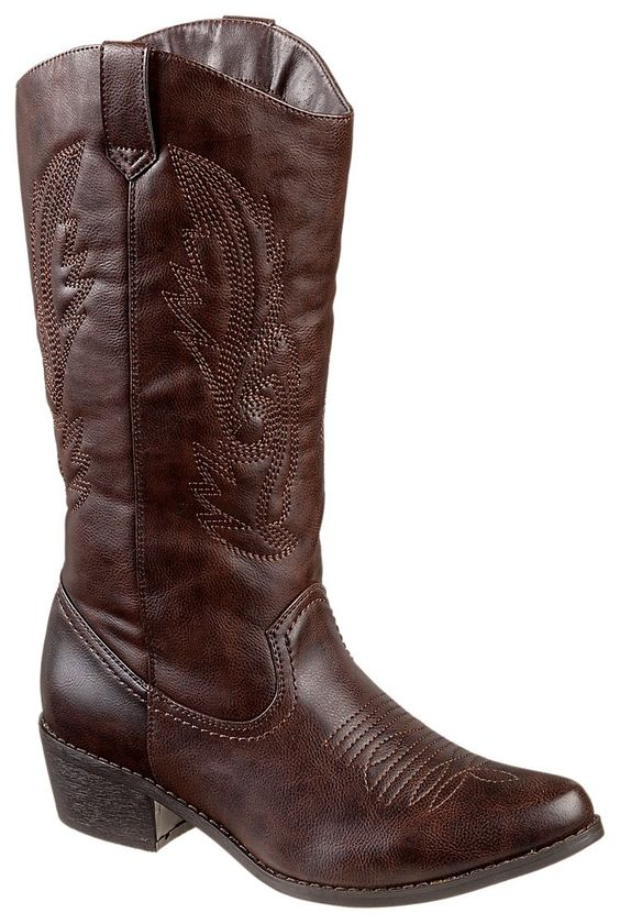 Natural Reflections Roslynn Western Boots for Ladies - Dark Brown ...