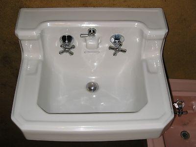 Antique Vintage American Standard pink Bathroom Sink Console Sink .