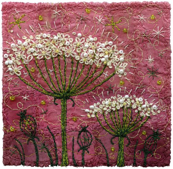 "Queen Anne's Lace, on pink | 3 ½"" square, 10"" square pine fr… 