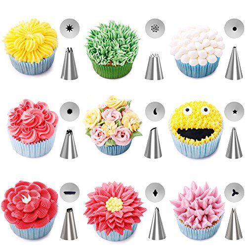 Piping Bags and Tips Cake Decorating Supplies Kit Baking Supplies Cupcake Icing Tips with Pastry Bags for Baking Decorating Cake