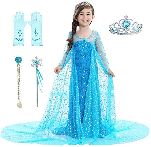 Almce Little Girls Princess Dress Anna Costume Fancy Dress Halloween Party