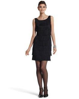 Black Tiered Fringe Dress - White House  Black Market  The ...