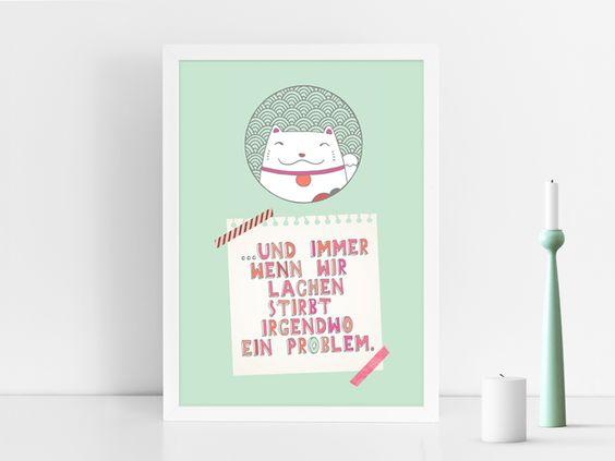 Originaldruck - Kunstdruck IMMER WENN WIR LACHEN - ein Designerstück von PrintsEisenherz bei DaWanda