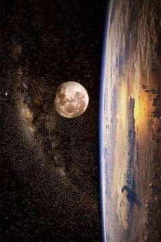 Milky Way & Moon & Earth dancing together <3