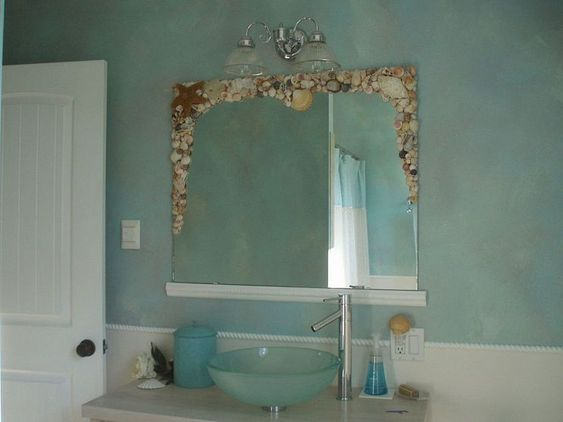 Bathroom Mirror Redo Sea Shells What To Do And Dress Up