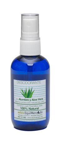 Desodorante de Alumbre y Aloe Vera. 100 ml. Producto certificado 100% natural. Desodorante sin aluminio ni clorhidrato de aluminio. Protección 24 horas gracias a la protección del alumbre y el aloe. Aplicación en spray.