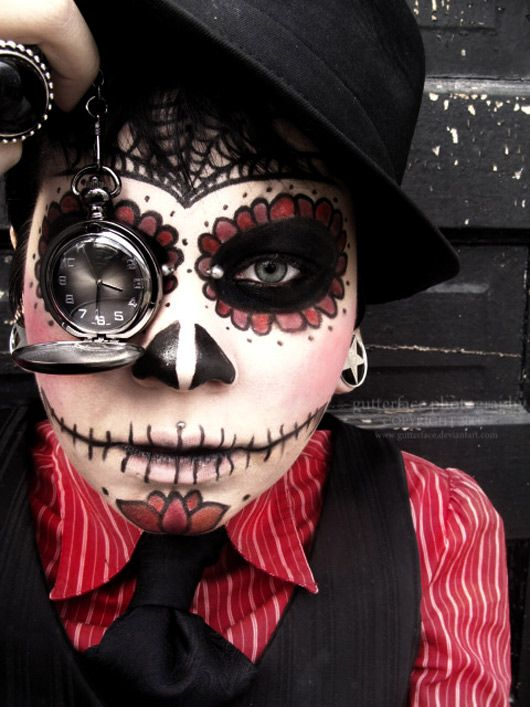 "The Spanish Skull -- Costume often seen during celebrations of ""Day of the Dead"" throughout South and Central America.:"
