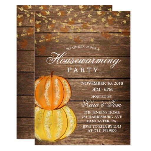 Fall Housewarming Invitation Zazzle Com Pumpkin Invitation Friendsgiving Dinner House Warming Invitations