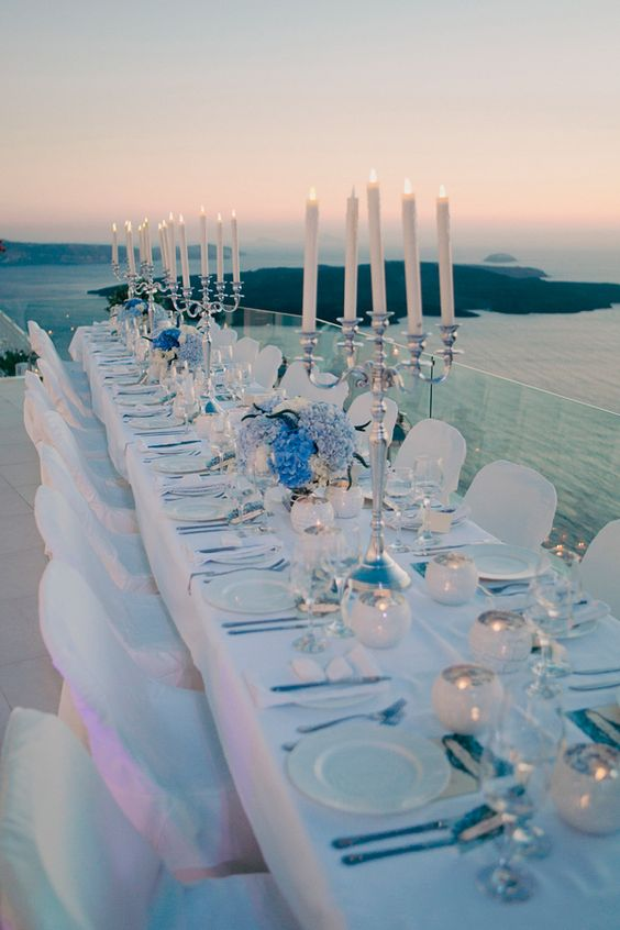greece wedding decor http://trendybride.net/blue-santorini-greece-destination-real-wedding/