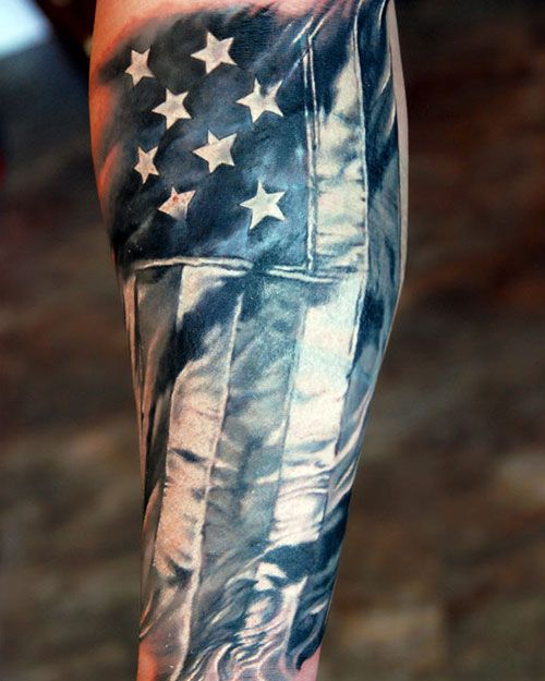 American Flag Sleeve Tattoo Designs, Ideas and Meaning