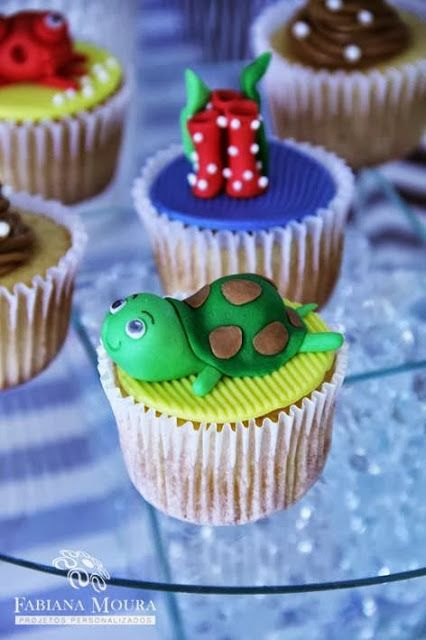 cupcake  Encontrando Ideias: Festa Fundo do Mar!!!